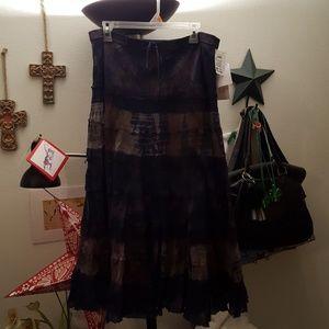 Navy and brown tye dye maxi skirt